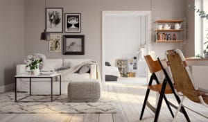 A well furnished apartment with a gray, simplistic style that emphasizes what matters in the room