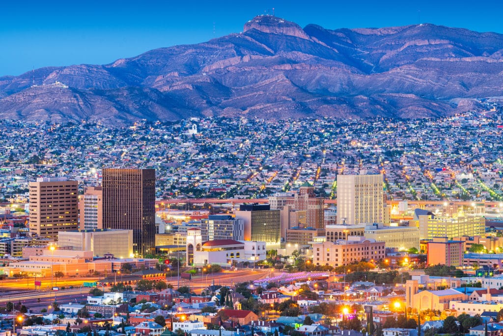 El Paso, Texas, USA downtown city skyline at dusk